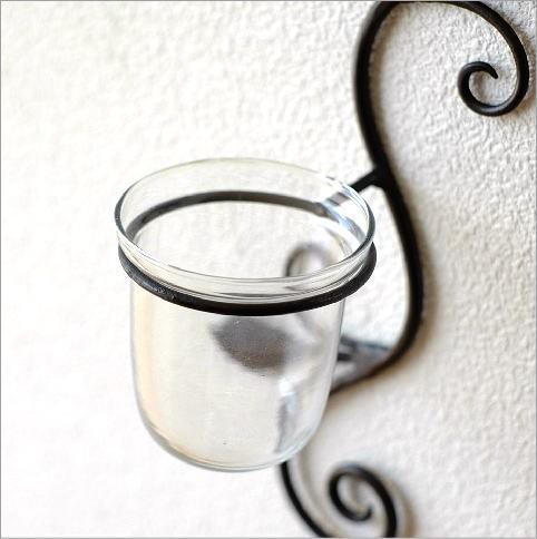 壁掛け花瓶のガラスとアイアン部分