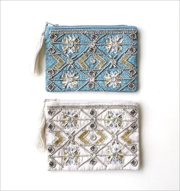 ビーズ刺繍ポーチS 2カラー(1)