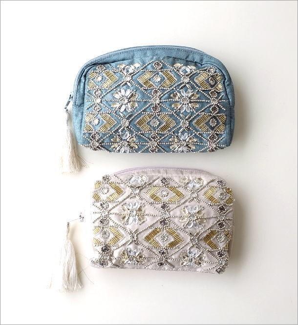 ビーズ刺繍ポーチM 2カラー(1)