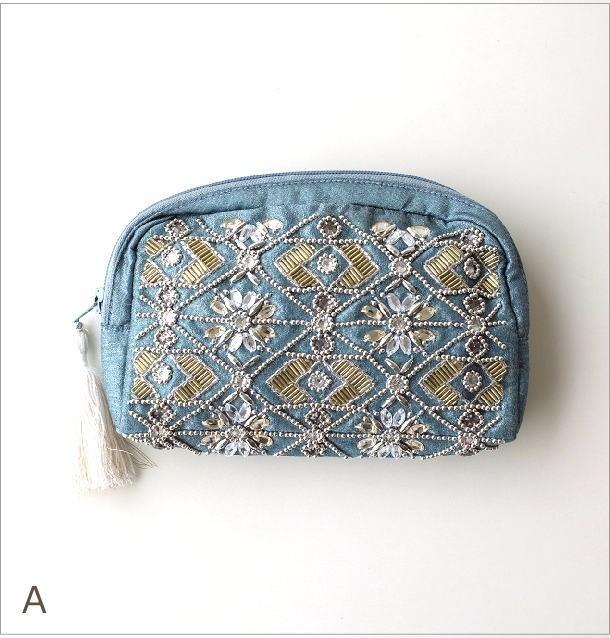 ビーズ刺繍ポーチM 2カラー(3)