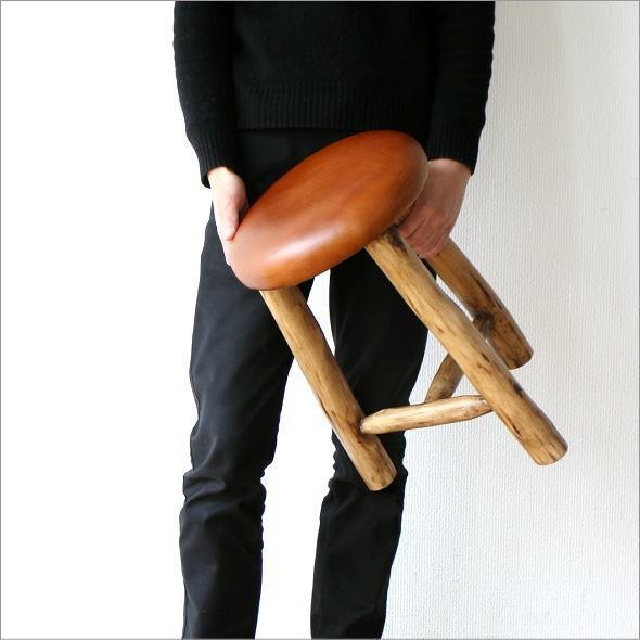 革の原木スツール(1)