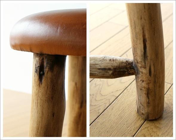 革の原木スツール(2)