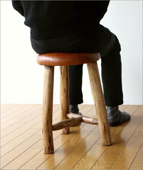 革の原木スツール(5)