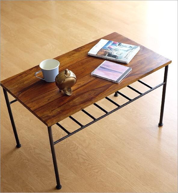シーシャムウッドとアイアンのローテーブル(1)