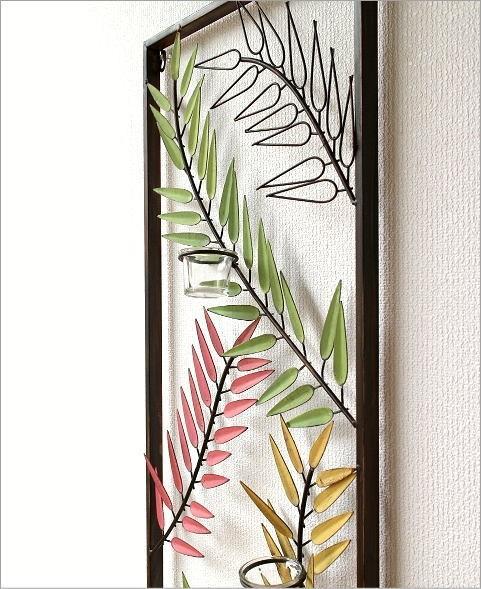 アイアンとガラスの壁掛けキャンドルホルダーA(2)