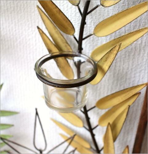 アイアンとガラスの壁掛けキャンドルホルダーA(3)