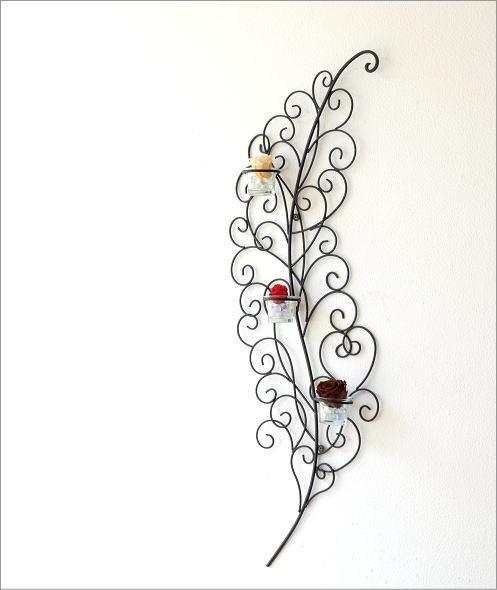 アイアンの壁飾り  リーフ3カップ(5)