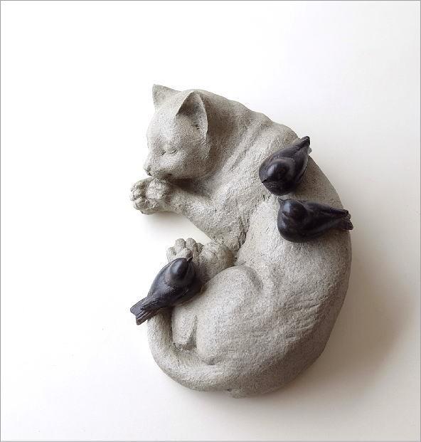 すやすやネコと小鳥の置物(1)