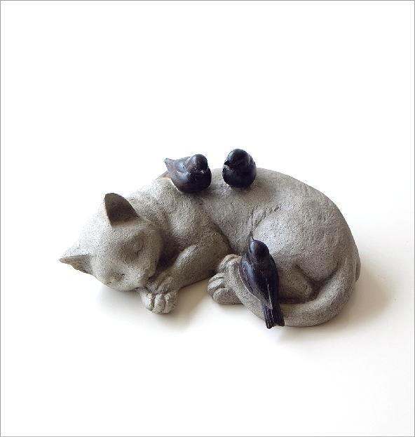 すやすやネコと小鳥の置物(4)