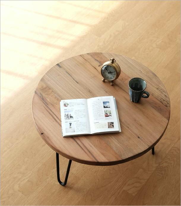 シャビーな寄木のラウンドテーブル(1)