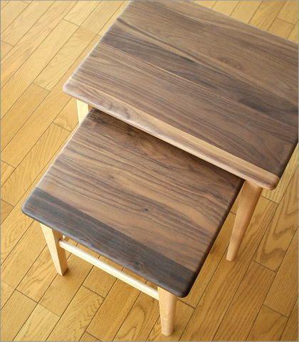 ナチュラルウッドのネストテーブル(3)