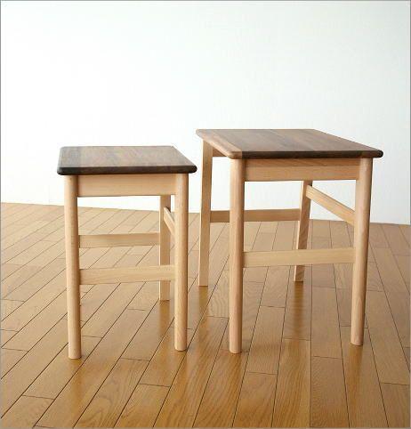 ナチュラルウッドのネストテーブル(5)