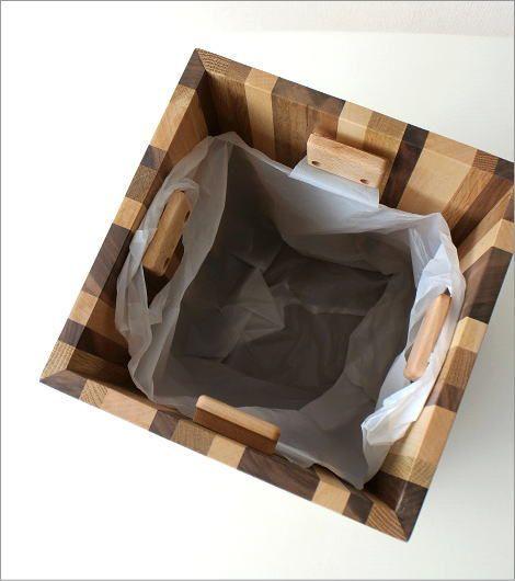ナチュラルウッドのスクエアダストボックス モザイク(4)