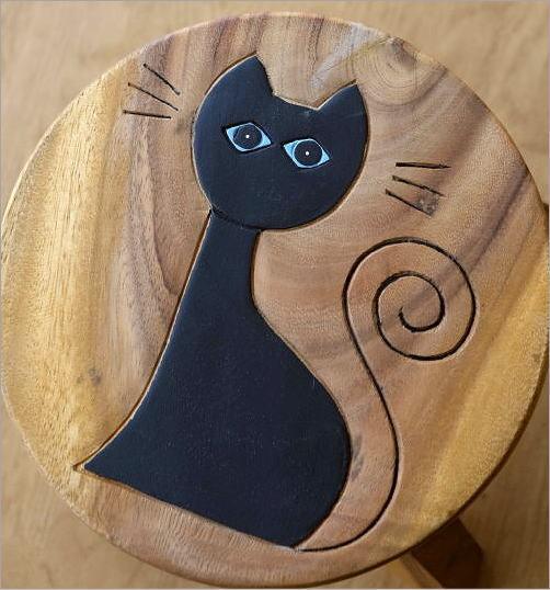 子供椅子ネコさん 木製椅子(2)
