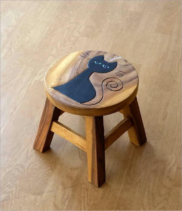 子供椅子ネコさん 木製椅子(4)