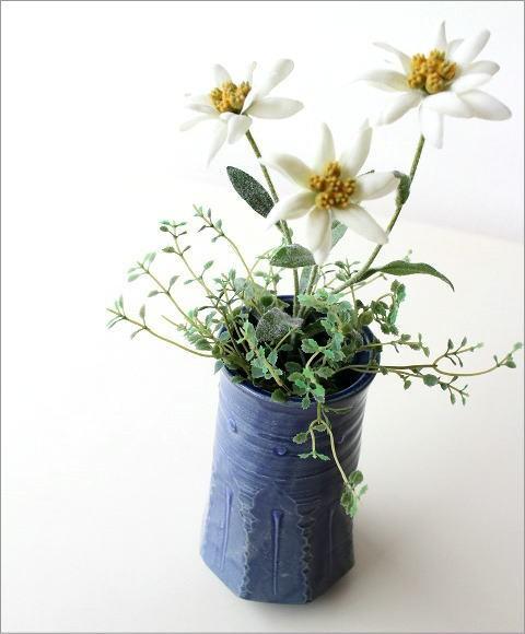 和陶器ベース 青釉削ぎ花入れ(1)