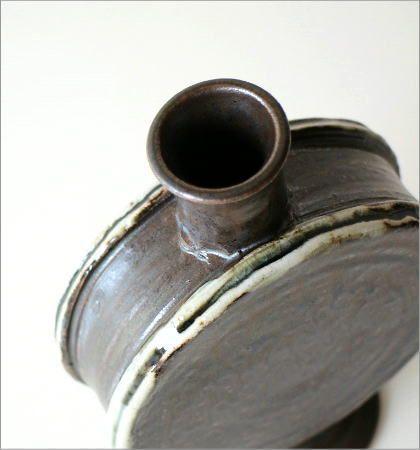 黒釉 太鼓型花入れ(2)
