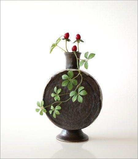 黒釉 太鼓型花入れ(4)