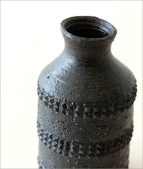黒土 筒型 花入れ(2)