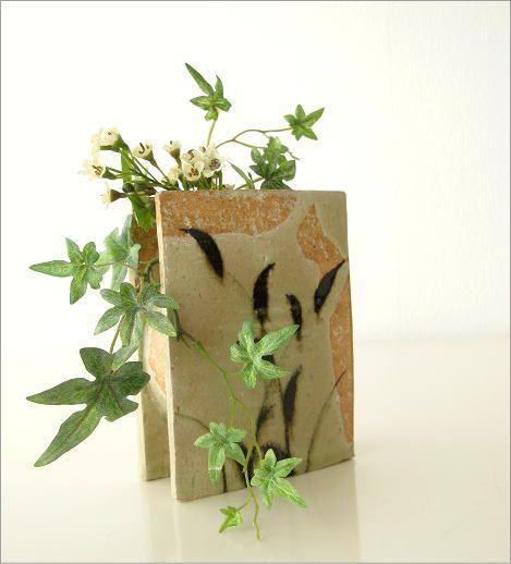 花瓶 花器 陶器 和陶器ベース 鉄絵草文 (1)