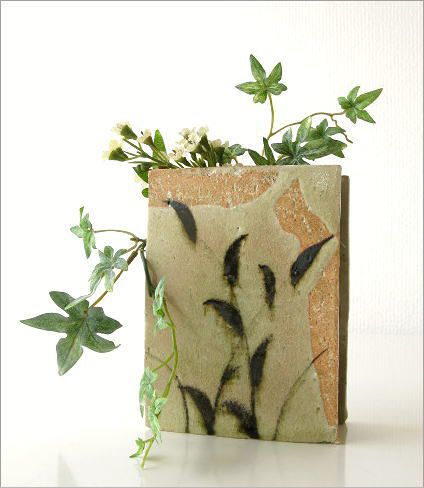 花瓶 花器 陶器 和陶器ベース 鉄絵草文 (4)