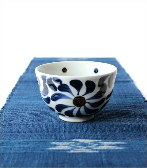 飯碗 染付渦草花(4)