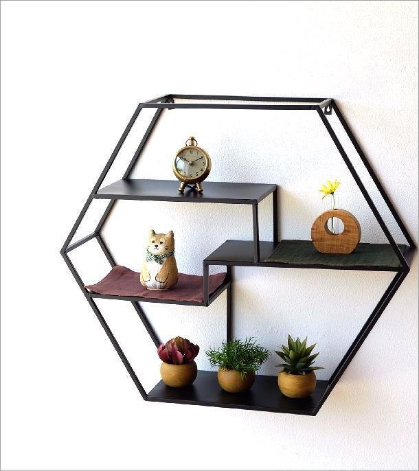 アイアンの六角飾り棚 L(1)