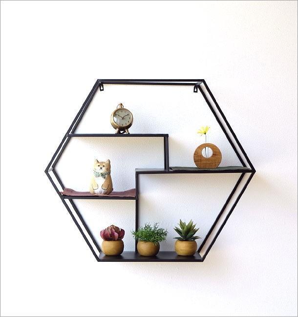 アイアンの六角飾り棚 L(2)
