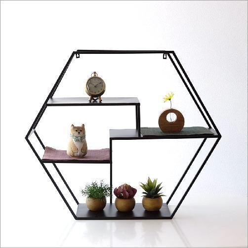 アイアンの六角飾り棚 L(4)