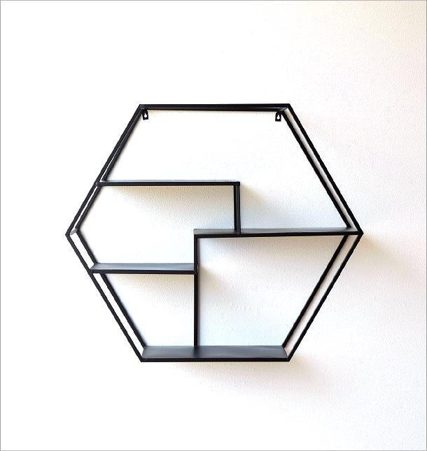 アイアンの六角飾り棚 L(5)