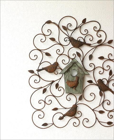 アイアンの壁飾り ウッドバードハウス(1)