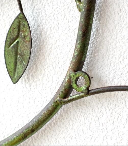 アイアンの壁飾り グリーンブランチ(3)