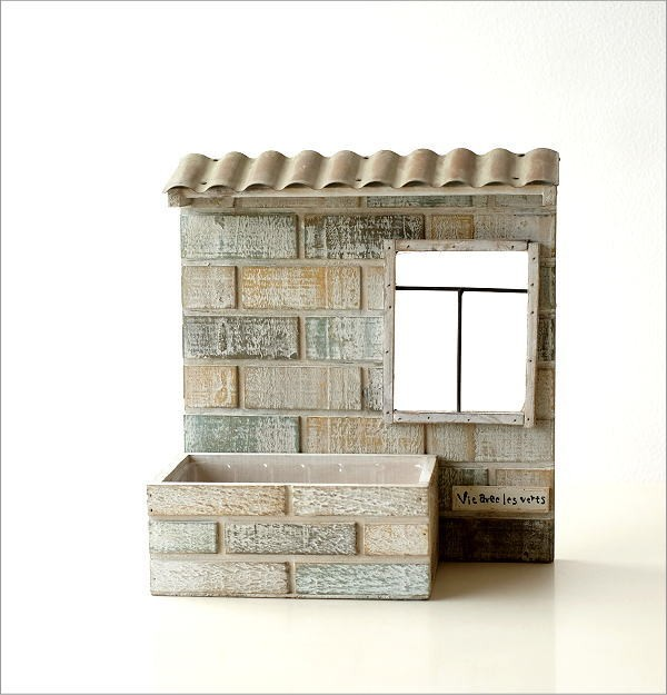 レンガ風ウッド壁掛プランター ガーデン(6)