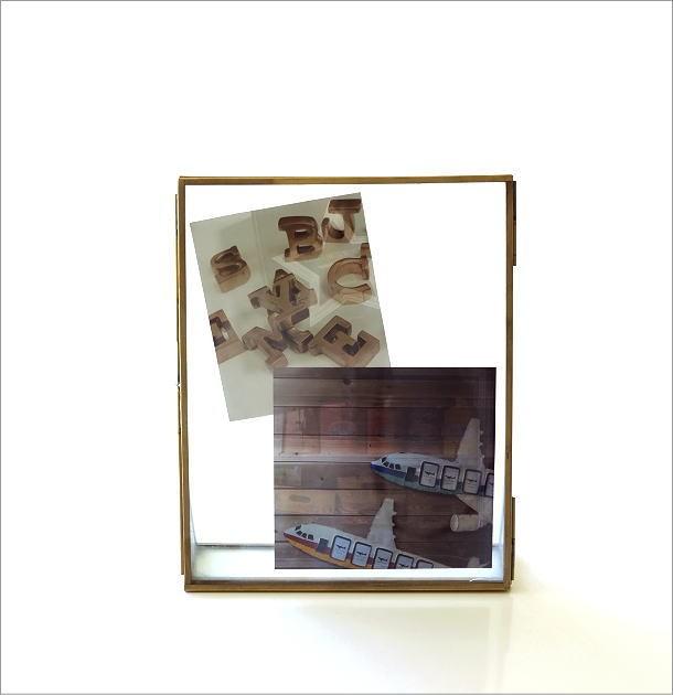 真鍮とガラスのフォトフレームL(6)