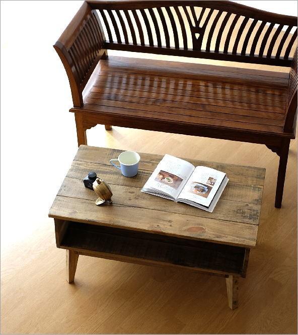シャビーシックな棚付きローテーブル(2)