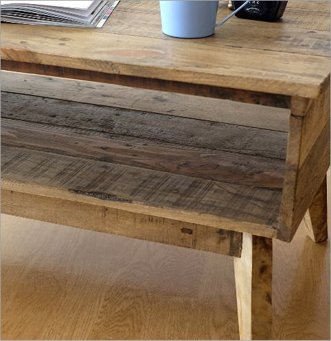 シャビーシックな棚付きローテーブル(4)