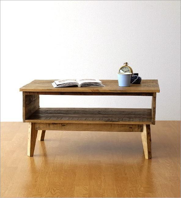 シャビーシックな棚付きローテーブル(6)
