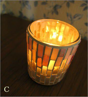 モザイクガラスのキャンドルカップ3タイプ(4)