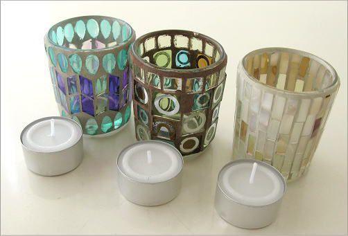 モザイクガラスのキャンドルカップ3タイプ(5)