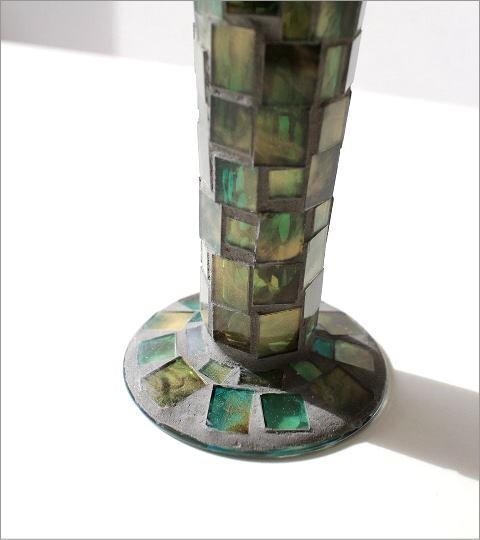 フラワーベース モザイクガラスの花瓶B(4)