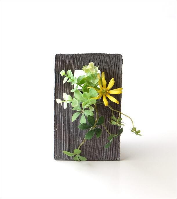 花瓶 陶器のフレーム花入れ(5)