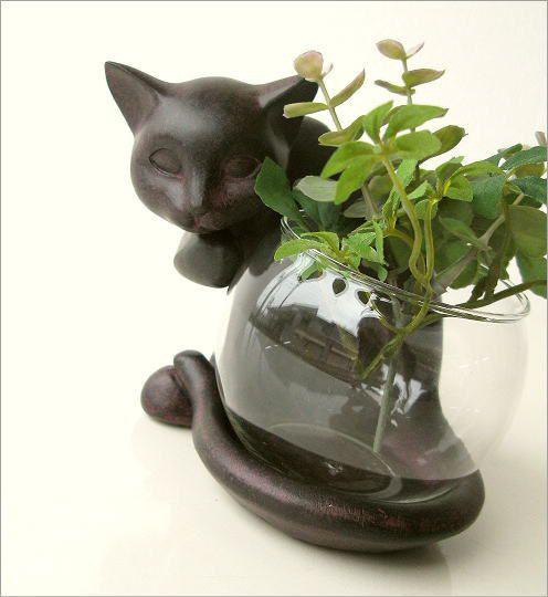 花瓶 ガラス フラワーベース ねこ雑貨 子ネコのミニベース しっぽネコ(1)