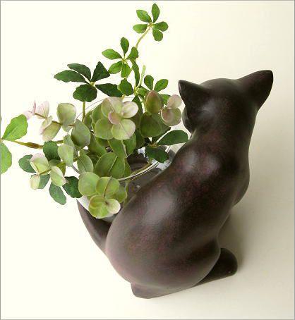 花瓶 ガラス フラワーベース ねこ雑貨 子ネコのミニベース しっぽネコ(2)