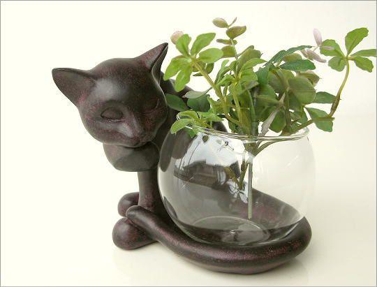 花瓶 ガラス フラワーベース ねこ雑貨 子ネコのミニベース しっぽネコ(4)
