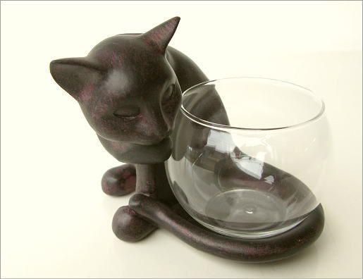 花瓶 ガラス フラワーベース ねこ雑貨 子ネコのミニベース しっぽネコ(5)
