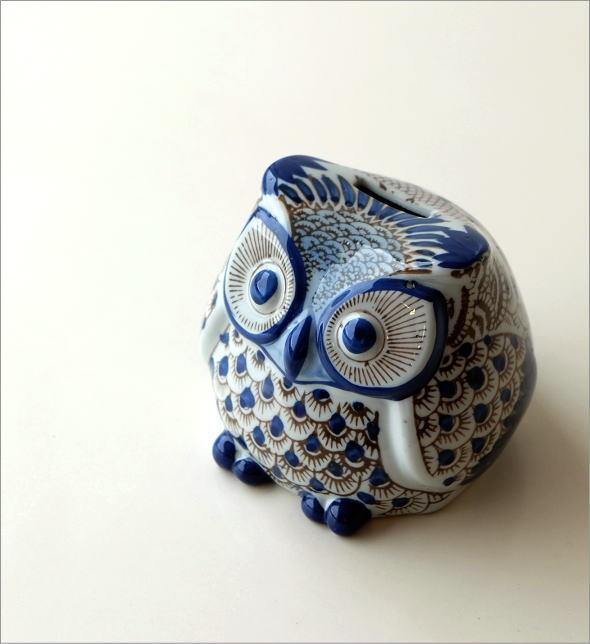 陶器のフクロウ貯金箱 M(1)