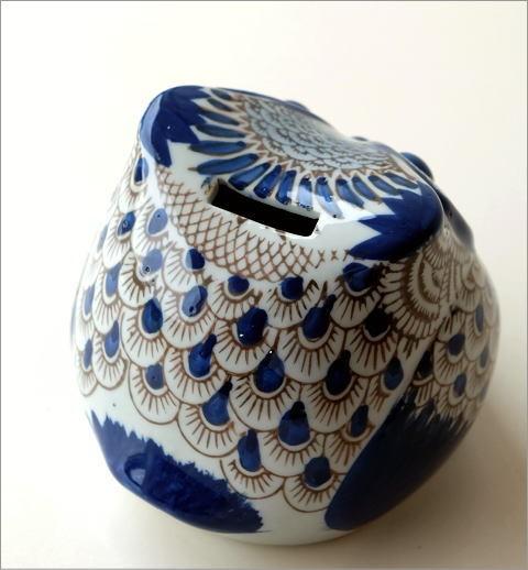 陶器のフクロウ貯金箱 M(3)