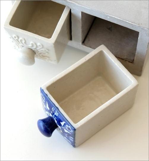 陶器の引き出しミニチェスト2個 ブルー&ホワイト2タイプ(2)