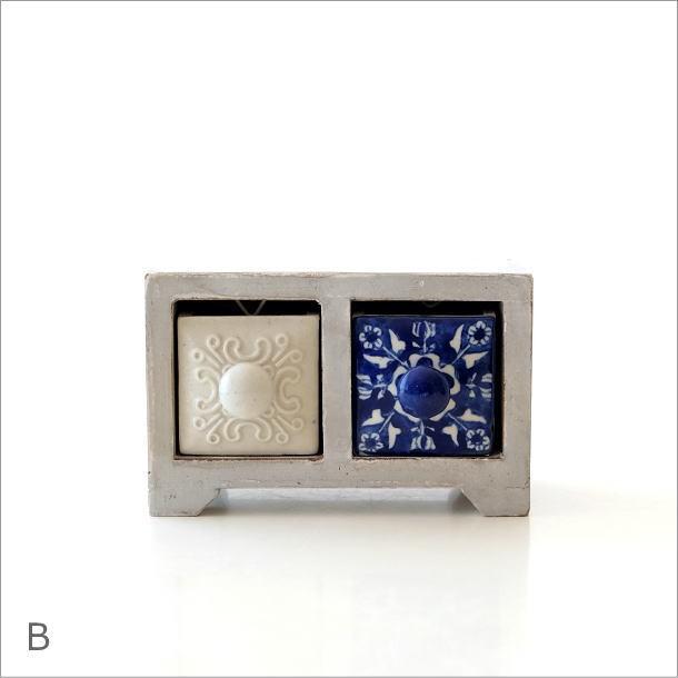陶器の引き出しミニチェスト2個 ブルー&ホワイト2タイプ(5)