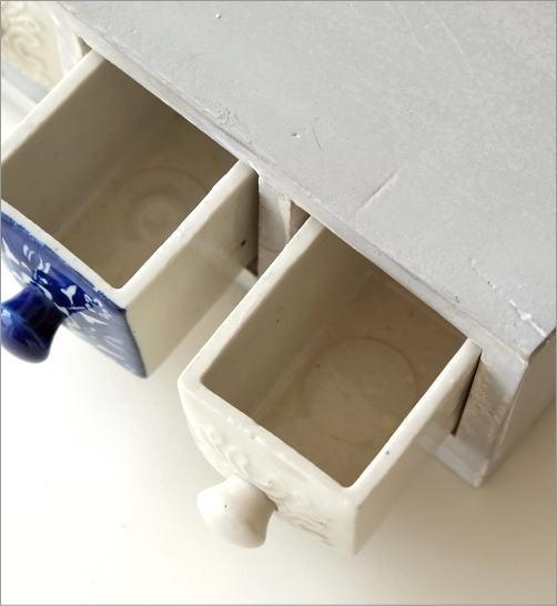 陶器の引き出しミニチェスト3個 ブルー&ホワイト2タイプ(2)